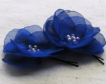 Flower bobby pins with sparkly Swarovski rhinestone centers, in cobalt blue chiffon, set of 2