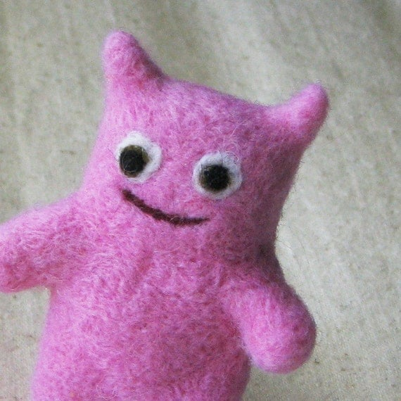 Mini creature, soft fuzzy beastie needle felted from pure wool, light candy pink