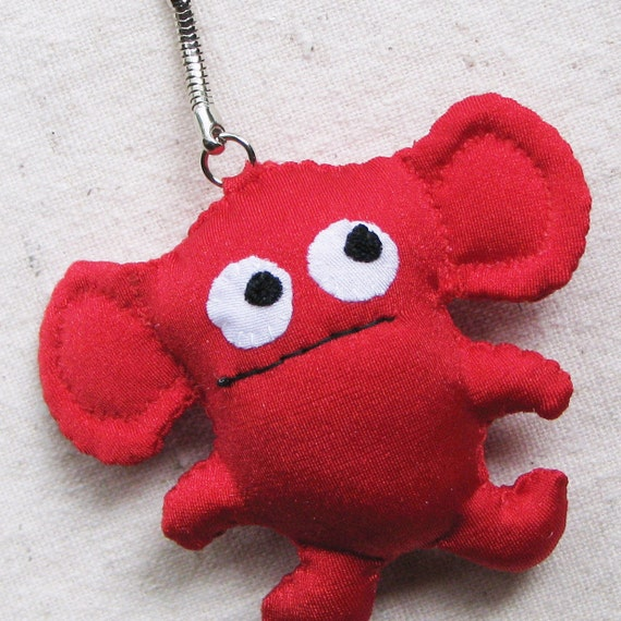 Beastie creature keychain, small plushie monster with googly eyes, fire engine red