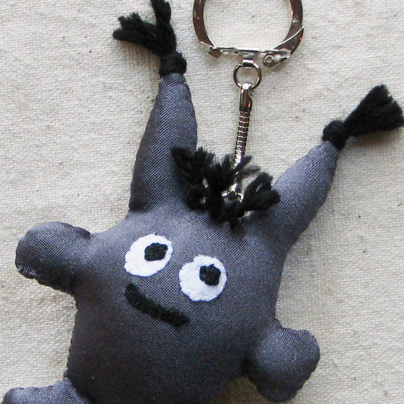 Beastie creature keychain, small plushie with googly eyes, in charcoal gray fabric