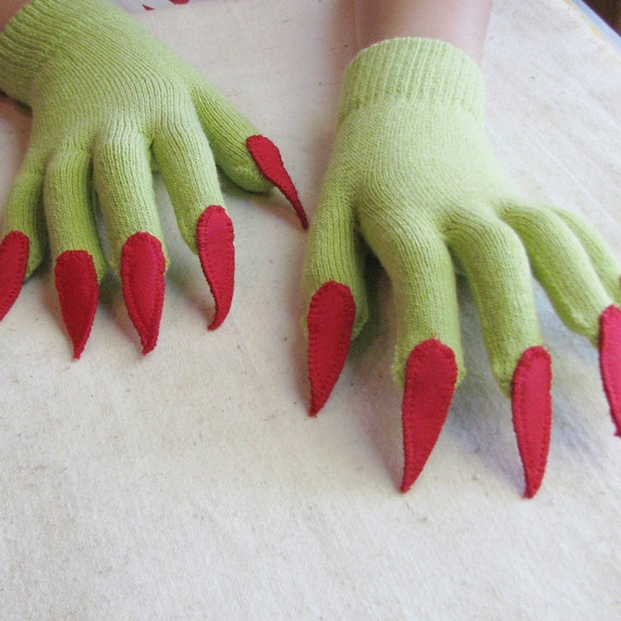 Gloves with claws, green and red, for Halloween costume or pretend play, one size stretch glove
