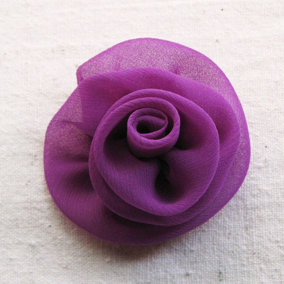 Rose hair clip, medium size, handcrafted rosette in magenta purple chiffon