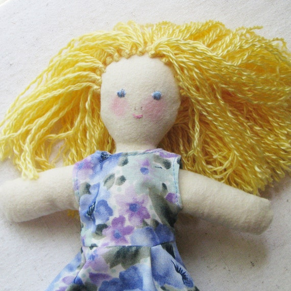 Soft cloth doll, 10 inch, sunny blond hair and a blue and lavender floral dress