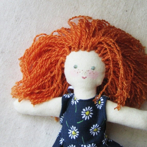 Cloth doll, 10 inch, redhead with freckles in dark navy dress with daisy print and lace, child friendly