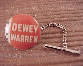 Tie Tack Dewey Warren Vintage Political Campaign Button - Free Shipping to USA