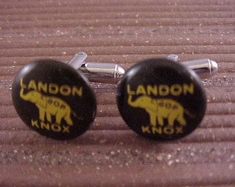 Landon Knox Vintage Political Campaign Button Cuff Links - Free Shipping to USA