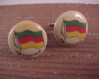 CLOSEOUT Cuff Links Vintage Abyssinia Flag - Free Shipping to USA