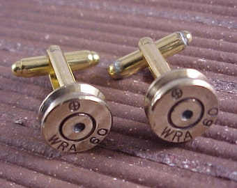 Bullet Cufflinks / Winchester Repeating Arms WRA 60 Rifle Cuff Links / Rifle Cufflinks / Brass Rifle Shell / Real Bullet Cuff Links
