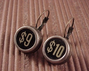 Black Cash Register Key Earrings - Free Shipping to USA