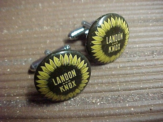 Cuff Links Landon Knox Vintage Political Pinback Buttons - Free Shipping to USA