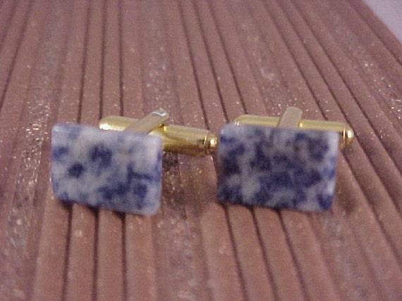 Gemstone Cuff Links - Dumortierite From Brazil