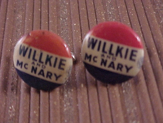 Vintage Political Pinback Button Cuff Links - Willkie McNary - Free Shipping to USA