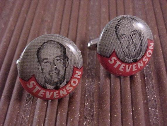 Cuff Links Adlai Stevenson Campaign Button