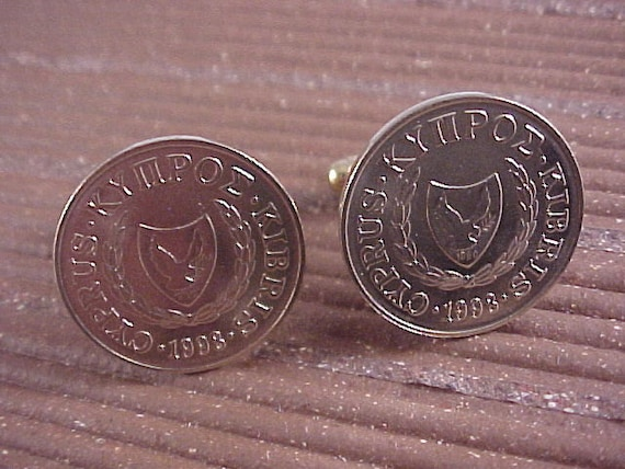 Cyprus Coin Cuff Links - Free Shipping to USA