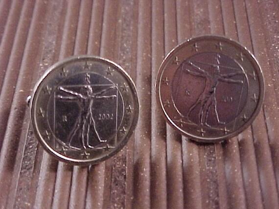 Italy 1 Euro Coin Cuff Links - Da Vinci Vitruvian Man