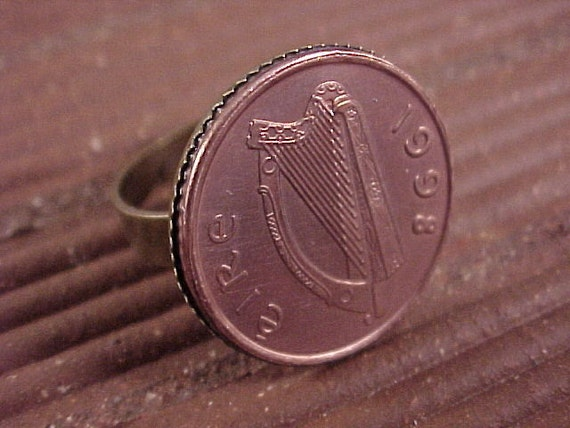 CLOSEOUT Ireland Coin Adjustable Ring - Free Shipping to USA