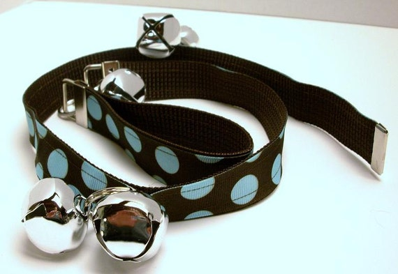 Doggy Doorbells Potty Training Bell Set Number 130 - Tiffany Blue Dots On Chocolate Ribbon On Dark Chocolate Webbing