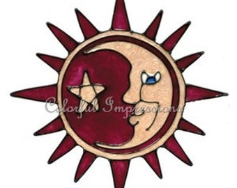 Burgundy Sun And Moon Faux Stained Glass Window Cling