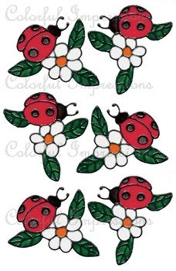 Ladybug And Flower Window Cling Set