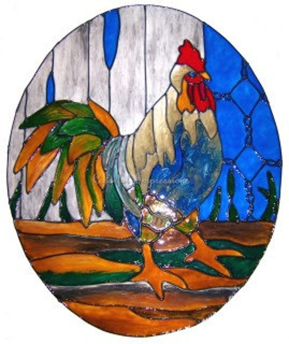 Oval Rooster Faux Stained Glass Window Film
