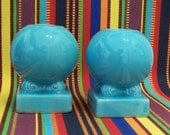 Vintage Fiestaware turquoise bulb candle holders.1936-1946