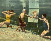 Linen postcard by Curt Teich. Underwater painting.