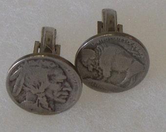 Cufflinks.1935 Buffalo / Indian head nickle coins.*Free shipping.