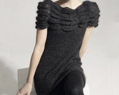 Hand Knit Angora Wool Dress - Simple and Elegant - S/M/L - Made to Order