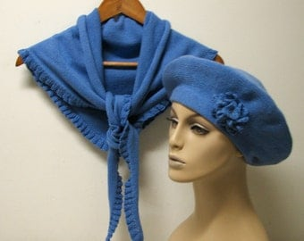 Hand Knit Set - Beret and Shawl - Cashmere/Cotton Blend - Ready to ship