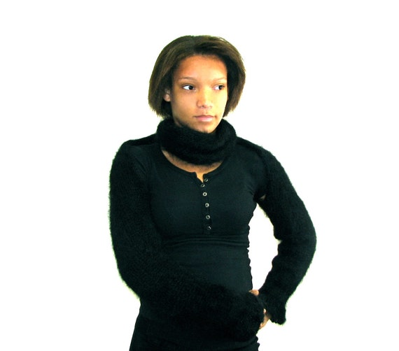 Hand Knit Mohair Wrap Around Scarf with Hidden Sleeves - Easily Transfers into Shrug