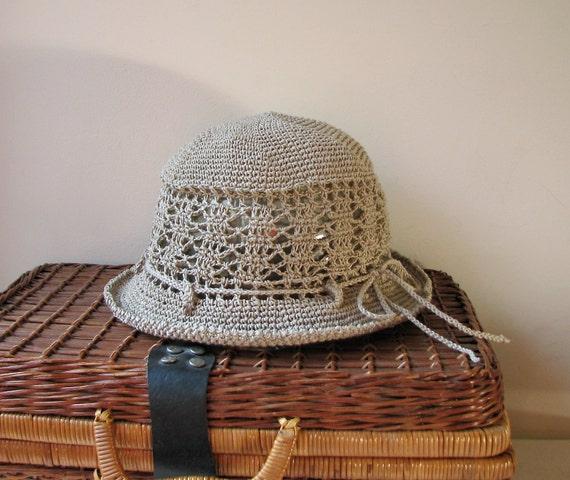 Crochet Sun Cloche/Bucket Hat -  Pure Unbleached Linen