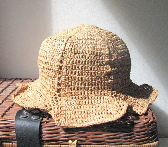 Crochet Sun Hat - Genuine Natural Madagascar Raffia