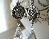 Silver Roses and Rhinestone Teardrop Earrings - Choose Color