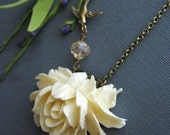 Ivory Rose and Swallow Necklace in Bronze