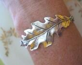 Silver Oak Leaf Bracelet with Pearl Acorn Dangle