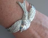 Bird Bracelet, Silver Swallow Bracelet, Silver Bracelet, Cuff Bracelet, Bird Jewelry, Silver Bird Bracelet - CharmedValley