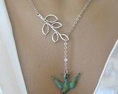 Verdigris Sparrow and Branch Necklace in Silver