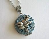 15% SALE - Wren Bird LOCKET Necklace in Silver