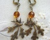Oak Leaf and Swallow Earrings, Fall Leaf Jewelry