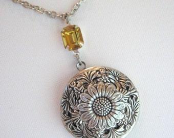Sunflower, Locket, Silver Locket Necklace, Sunflower Jewelry, Fall Jewelry, Enchanted Garden Locket, Flower Locket, Antique Locket