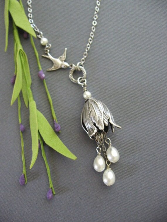 Tulips, Silver Necklace, Pearl Necklace, Swallow Necklace, Bridesmaid Gifts, Weddings, Gifts for Her, Garden Weddings, Mother of the Bride