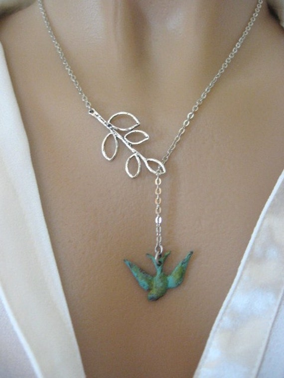 Patina Swallow Necklace, Swallow Necklace, Branch Necklace, Silver Branch Necklace, Verdigris Jewelry, Sparrow Necklace