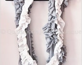 Luxurious Infinite ruffles, jersey knit chic infinity scarf, very soft, feminine, heather gray and soft white, nice gift, light for spring