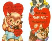 A Pair Of Purr-Fect Vintage Kitten Cat  Die-Cut Valentines