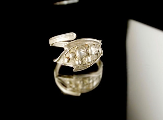 Sterling Silver Spoon Ring - Lilly of the Valley