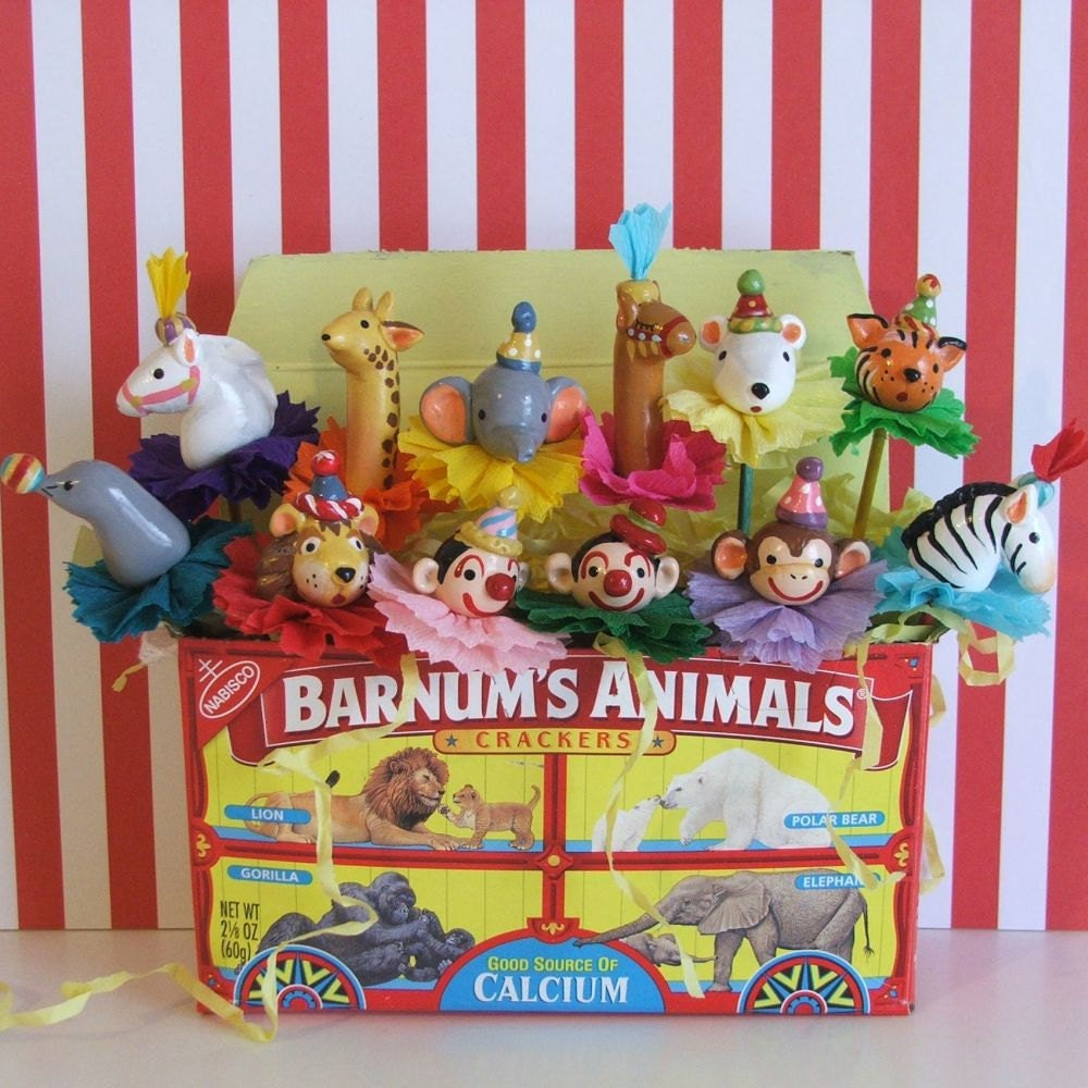 Carnival circus themed animal cupcake