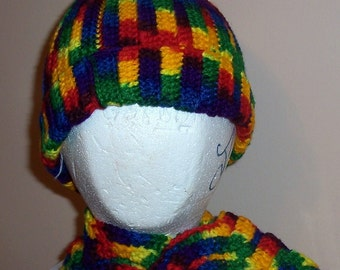 Child's (girl) Hat and Scarf in Rainbow