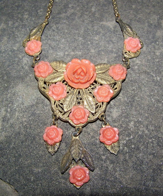 Reserved for Rhiannon Vintage  Necklace 1920s Orange Celluloid  Rose Brass Filigree  D10