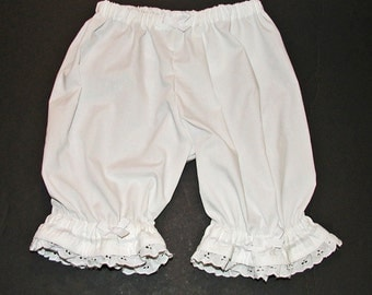 White Lacy Ruffled Bloomers size 12 Mos.