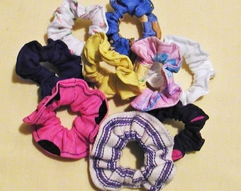 Nine Colorful Mini Scrunchies